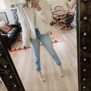 Jackets & Blazers - Vintage white cropped real fur coat